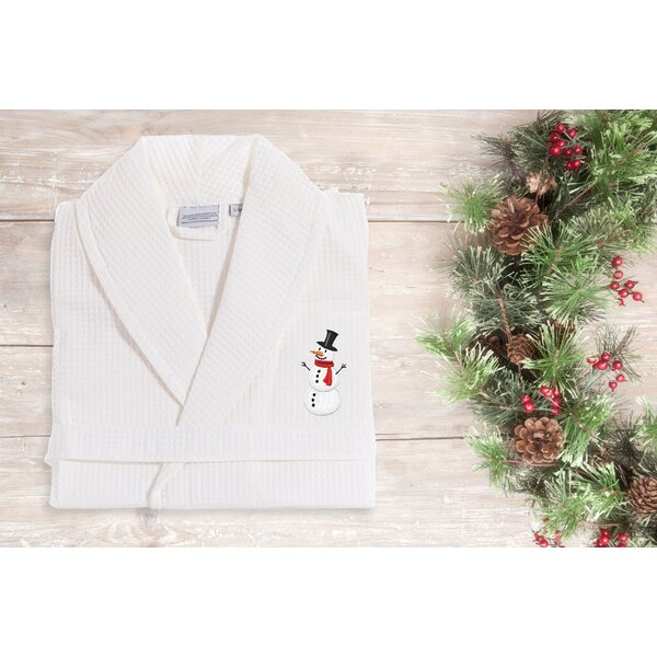 Snowman Embroidered Weave 100% Cotton Waffle Bathrobe by The Holiday Aisle